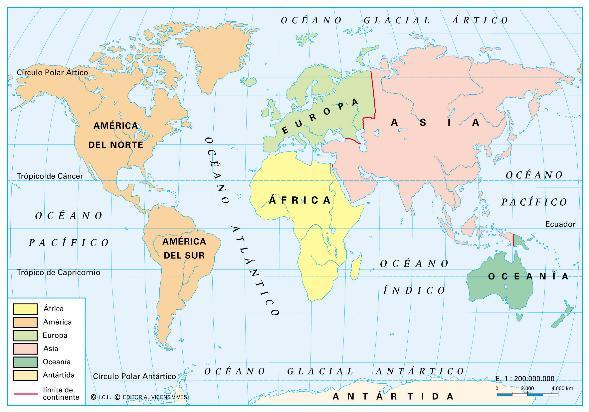 Planisferio CON NOMBRES DE LOS 5 CONTINENTES - Imagui