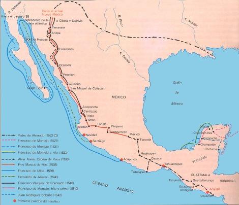 Principales expediciones en Nueva Espana, 1550